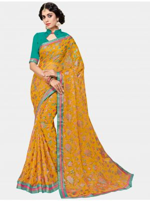 Yellow Chiffon Brasso Designer Saree small FABSA20699