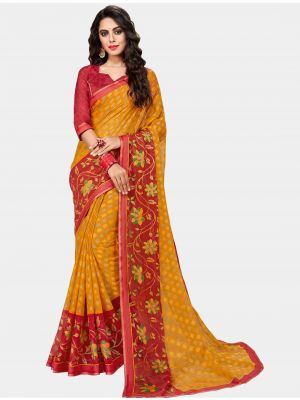 Yellow Chiffon Brasso Designer Saree small FABSA20703