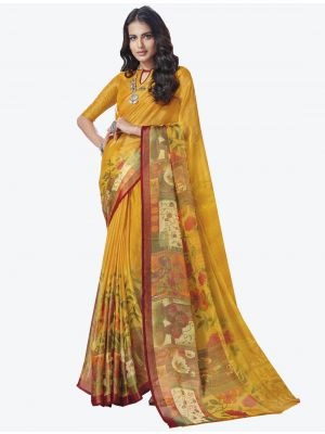 Yellow Chiffon Brasso Designer Saree small FABSA20707